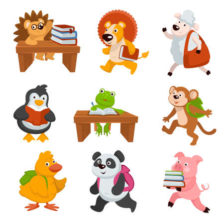 Illustration pour Baby animals carrying books and studying at school - image libre de droit