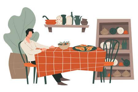 Illustration pour Man sitting by table at restaurant waiting for date - image libre de droit
