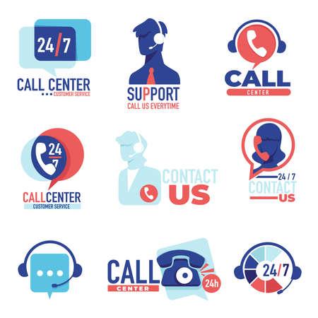 Illustration pour Call center, customer support 24 7 communication and help vector - image libre de droit