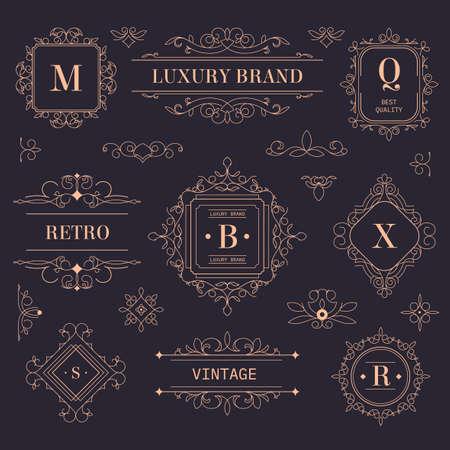 Photo pour Luxury brand vintage labels and logotypes with ornaments - image libre de droit
