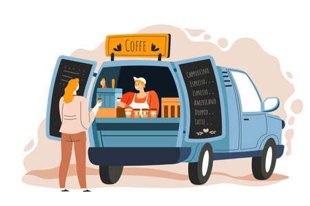 Illustration pour Coffee truck seller and customer at street vector - image libre de droit