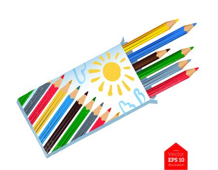 Illustration pour Top view illustration of color pencils - image libre de droit