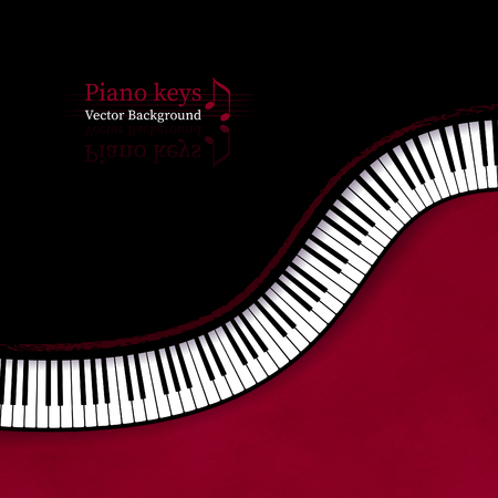 Illustration for Vector illustration of background with top view Piano keys in red and black colors. - Royalty Free Image