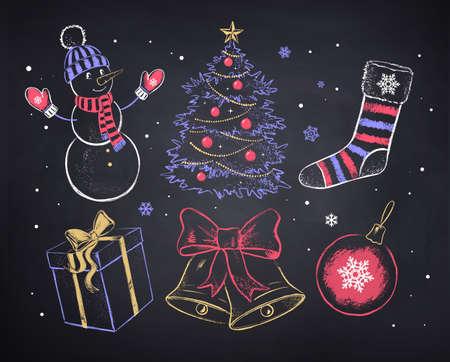 Illustration pour Vector chalked Christmas set - image libre de droit