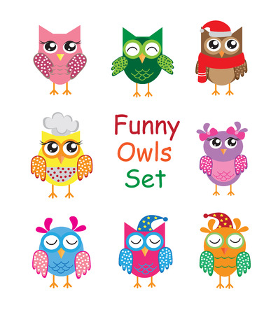 Illustration for Funny cute different cartoon owls collection. vector illustration. - Royalty Free Image