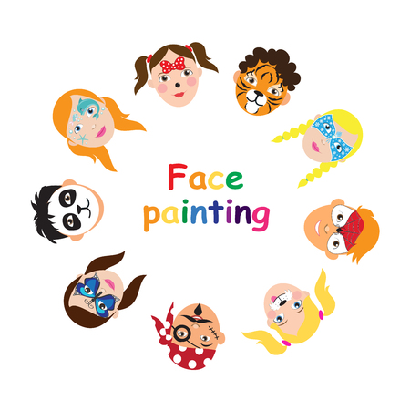 Illustration for Face painting for kids collection. set of icons in cartoon flat style for banner, poster. children's holiday background. Vector illustration. - Royalty Free Image