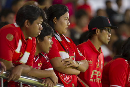 BANGKOK,THAILAND:AUGUST;2015: Cheering team of BEC-Tero in football Thai Premier League between between PORT FC and BEC-Tero sasana at PAT Stadium on AUGUST 9,2015inThailand.