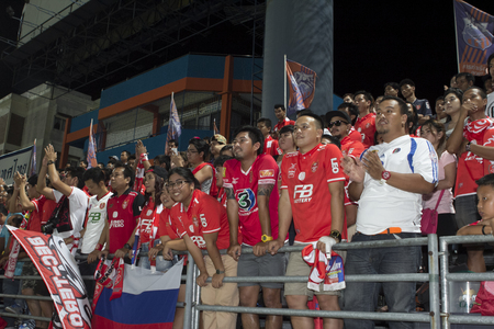BANGKOK,THAILAND:AUGUST;2015:Cheering team of BEC-Tero in football Thai Premier League between between PORT FC and BEC-Tero sasana at PAT Stadium on AUGUST 9,2015inThailand.