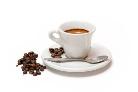 Photo pour Cup of coffee with milk and toasted coffee beans. Isolated white background - image libre de droit