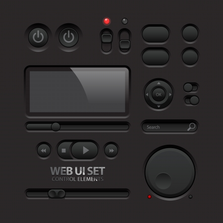 Dark Web UI Elements  Buttons, Switches, bars