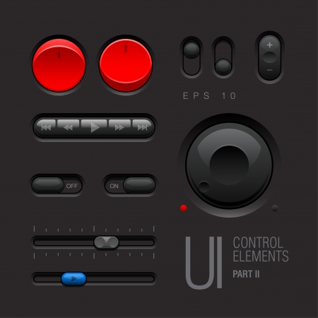 Dark Web UI Elements  Buttons, Switches