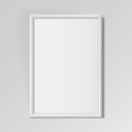 Realistic White vertical frame for paintings or photographs hanging on the wall. Vector illustration.