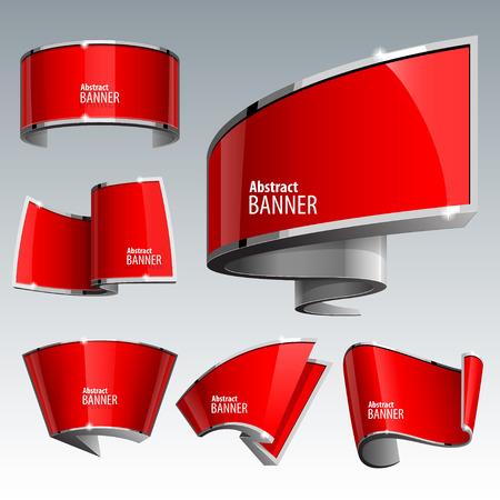 Illustration pour Shiny gloss red vector banner set. eps 10 - image libre de droit
