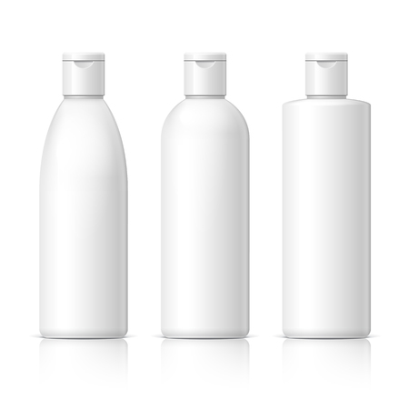 Illustration pour set of cosmetic products on a white background. Cosmetic package collection for cream, soups, foams, shampoo. Object, shadow, and reflection on separate layers. vector illustration. - image libre de droit