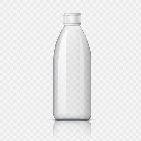 Realistic plastic bottle for water on a transparent background. Vector illustration