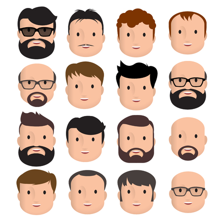 Illustration pour Men Male Human Face Head Hair Hairstyle Mustache Bald People Fashion. Design flat avatar for social media. Vector illustration. - image libre de droit