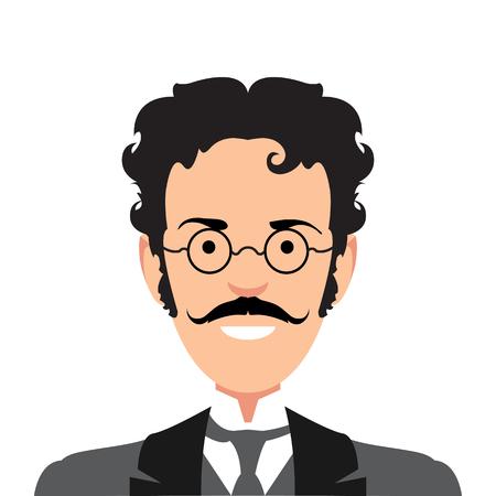 Illustration pour Vintage gentleman portrait. Design flat avatar for social media. Vector illustration. - image libre de droit