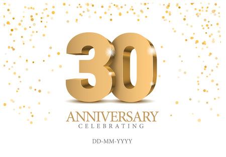 Ilustración de Anniversary 30. Gold 3d numbers. Poster template for celebrating 30th anniversary event party. Vector illustration - Imagen libre de derechos