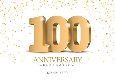 Ilustración de Anniversary 100. gold 3d numbers. Poster template for Celebrating 100th anniversary event party. Vector illustration - Imagen libre de derechos