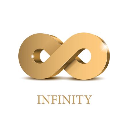 Illustration pour Infinity 3d gold Symbol. Poster template. Vector illustration - image libre de droit