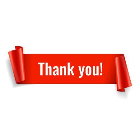 Illustration pour Thank you banner. Red paper twisted ribbon. Vector illustration - image libre de droit