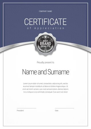 Illustration pour Certificate template. Diploma of modern design or gift certificate. - image libre de droit