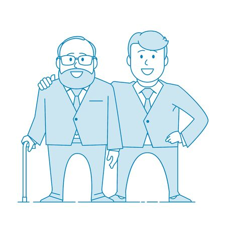 Illustration for Father and his adult son. Elderly father and adult son together. Cartoon characters. Illustration in line art style. Vector - Royalty Free Image
