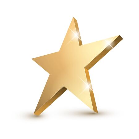 Illustration for Golden 3d star with Golden 3d star with highlights. Icon for holiday design element. Vector illustration. - Royalty Free Image