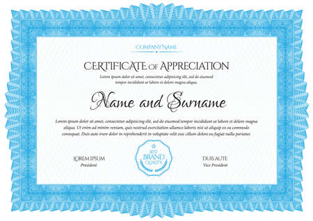 Illustration for Certificate Template. Diploma of modern design or gift certificate. Frame from guilloche pattern. Elegant and expensive design. Vector illustration. - Royalty Free Image