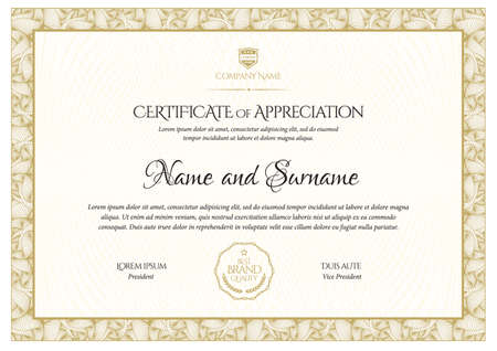 Illustration for Certificate template. Diploma of modern design or gift certificate. - Royalty Free Image
