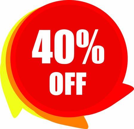 Illustration pour 40 Percent  Off  Discount offer price label Graphics - image libre de droit