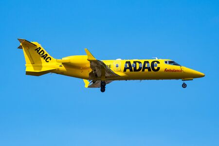 Istanbul / Turkey - March 28, 2019: ADAC Ambulance Luftrettung Aero-Dienst Learjet 60 D-CURE business jet arrival and landing at Istanbul Ataturk Airport