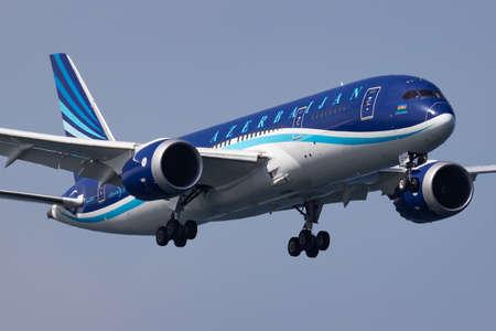 Istanbul / Turkey - March 28, 2019: AZAL Azerbaijan Airlines Boeing 787-8 Dreamliner VP-BBS passenger plane landing at Istanbul Ataturk Airport