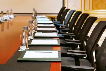 A detail shot of a meeting room often referred to as MICE by the hospitality fraternity