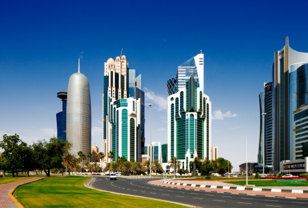 West Bay is the newly developed urban center of Doha, Qatar  It is rapidly expanding with numerous contemporary skyscrapers gracing the skyline of the city