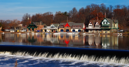 The Schuylkill River hosts Philadelphias famed boathouse row, as a colorful backdrop to the Fairmount Dam Fishway, City of Philadelphia