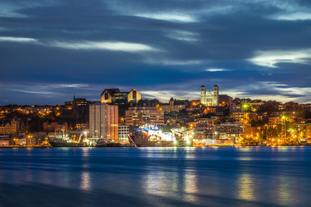 St John's cityscape at the evening, capital of Newfoundland and Labrador, Canada