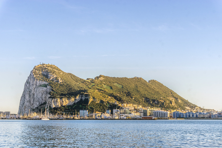 Gibraltar Rock viewed from Andalusia, British overseas territory