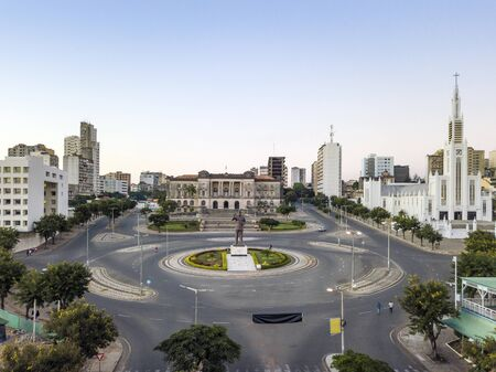Independence square with City Hall and main Cathedra inl downtown of Maputo, Mozambique