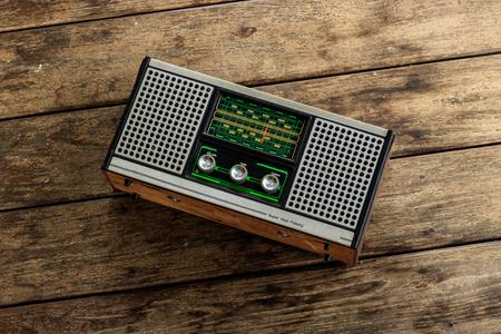 old transistor on wood floor