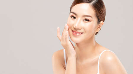Photo for Beauty asian women portrait face with skin care healthy and skin. - Royalty Free Image