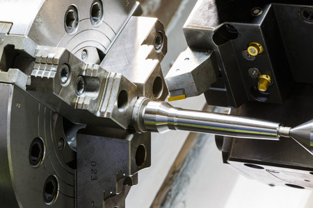 industrial metal work machining process by cutting tool on 