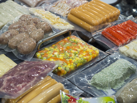 Foto de Food industrial, Fod production and packing process, Food high technology manufacturing with automatic machine - Imagen libre de derechos