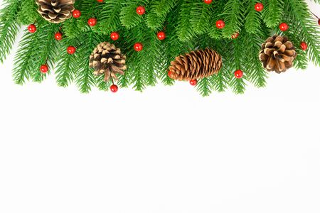 Photo pour Happy new year or christmas day top view decorative fir tree on white background with copy space for your text - image libre de droit