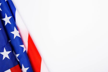 Photo pour President's Day Concept, flat lay top view, America Flag on white background with copy space for your text - image libre de droit