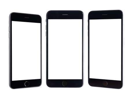 Photo pour Black modern smartphone mockup. Mobile smart phone technology front blank screen studio shot isolated on over white background with clipping mask path on the phone and screen - image libre de droit