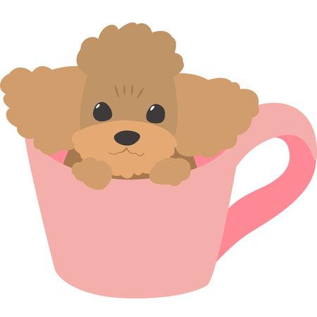 Ilustración de Cup dog (toy poodle) - Imagen libre de derechos