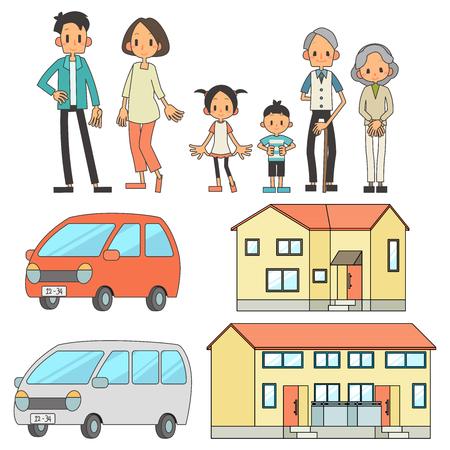 Illustration pour Family 3 households Private car home set - image libre de droit