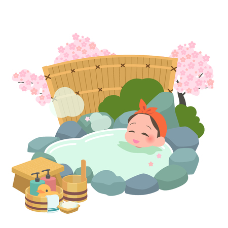 Illustration for Women spring to soak in the hot springs - Royalty Free Image