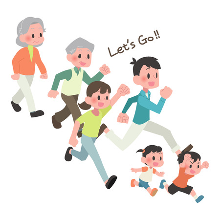 Illustration for 3 households people runs - Royalty Free Image